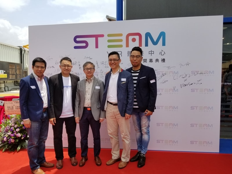 Sr. Paul Tsui (second from the right) was with the officiating guest, Dr. David Chung (middle), at the grand opening of STEAM VR Experience Centre.