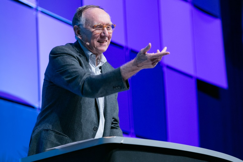 Founder and President of Esri Mr. Jack Dangermond presented in plenary session on the first day of Esri User Conference